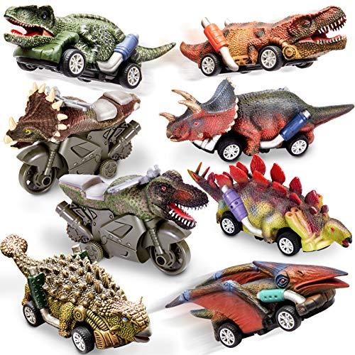 HERSITY Coche Dinosaurios de Juguetes Incluir 6 Dinosaurio Tire hacia Atrás Coches y 2 Friccion Motocicletas Regalos para Bebes Niños