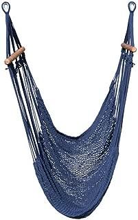 Wholestory Hammock Chair Hanging Rope Swing- Handwoven Nicaraguan Cotton Weave- Ultimate Comfort (Navy)