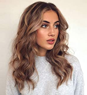 Vedar Original Design - Realistic Looking Daily Wigs Wave Brown Lace Front Wigs for Women Dark Rooted Brown Wigs Mixed Blonde Lace Wigs 18 inch VEDAR-049-18