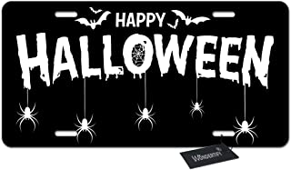 WONDERTIFY Happy Halloween Banner License Plate,Lettering with Bat and Spider Black Decorative Car Front License Plate,Van...