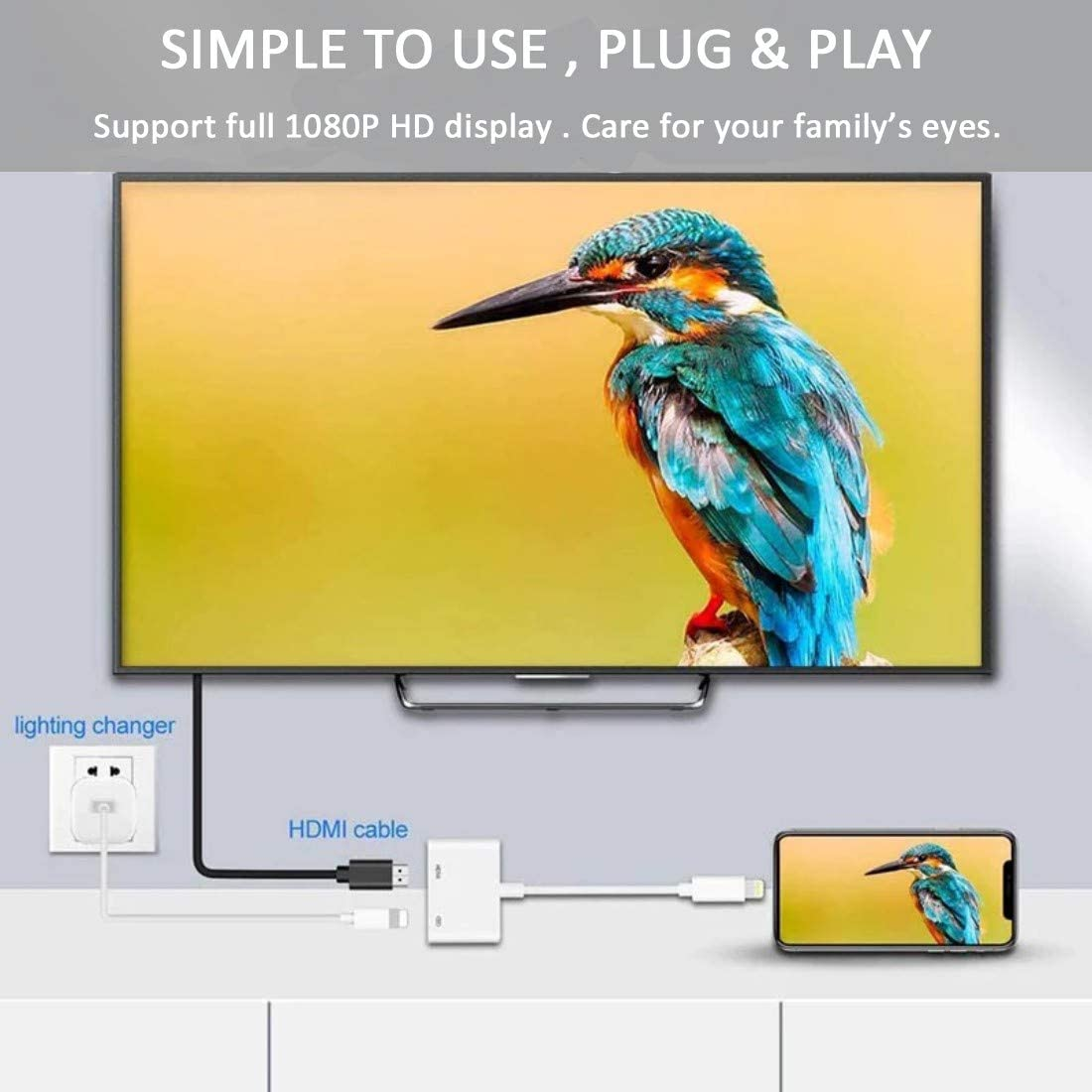 Compatible with Phone Pad to HDMI Adapter Pad Digital AV Adapter 1080p HD TV Connector Pod to TV Compatible with Phone Xs Max XR 8 Sync Screen HDMI Connector Adaptor for Phone
