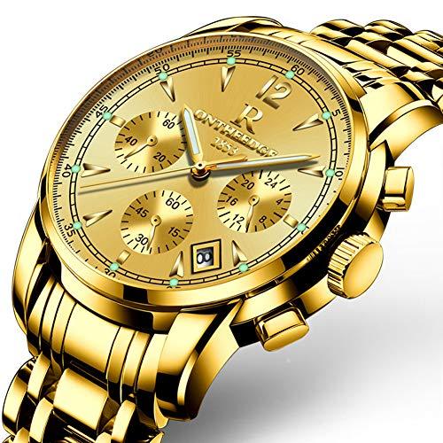 Reloj de cuarzo para hombre, reloj multifunción de acero, luminoso, calendario, cronógrafo, resistente al agua, reloj despertador, correa de acero, 6 colores dorados