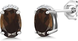 925 Sterling Silver Brown Smoky Quartz and White Lab Grown Diamond Earrings For Women, 1.56 Ct Oval 7X5MM