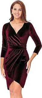 Women's Long Sleeve Velvet Bodycon Wrap Dress for Wedding Guest
