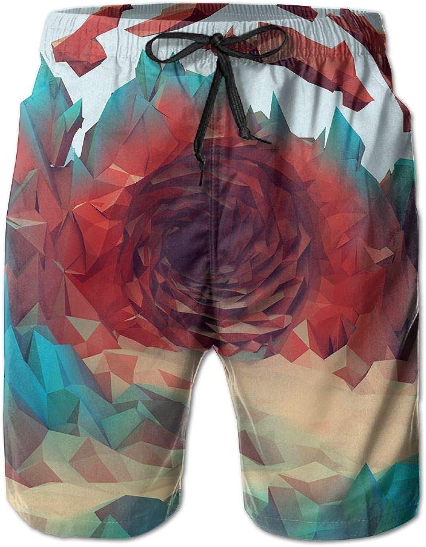 18adc463b30c2 Quick Dry Men's Beach Board Shorts Shorts Shorts blueee Abstract Polygon  Art Surfing Swim Trunks Beachwear With Pockets 678837
