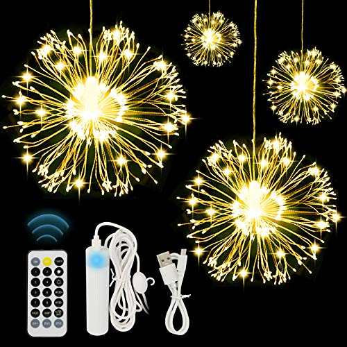AXUAN 4 Pack Firework Lights 120 LED Copper Wire Starburst Fairy Lights with 8 Modes Remote Waterproof Hanging Decorative Lights for Christmas Home Party Wedding Garden Xmas Bedboom Indoor Outdoor