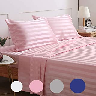 Treely Silky Satin Sheet Set Super Soft Striped Bed Full Sheet Set with Deep Pocket Fitted Sheet, Flat Sheet, Pillow Cases(4-Pieces, Pink)