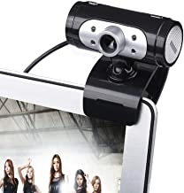 Yuxahiugstx High Definition 1280720 Camera Webcam 4 LED HD 360 Degrees Camera with Night Lights Webcam Mic Clip-on for PC ...