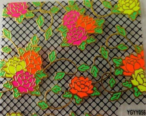 NR Manucure Nail Art Stickers Autocollants pour Ongles Scrapbooking Fleurs Multicolores Fond résille Noire