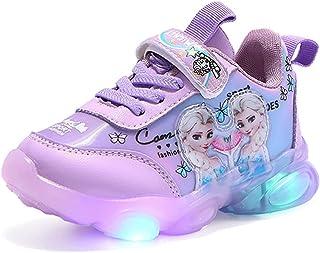 NAIKLY Ice Princess Elsa Printing Enfants Fille Fille Sandale congelée Enfants LED Lumineuses Chaussures Sports en Plein a...