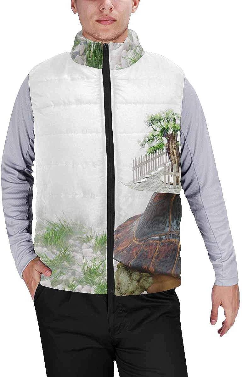 InterestPrint Men's Full-Zip Soft Warm Winter Outwear Vest Tropical Watercolors Flowers