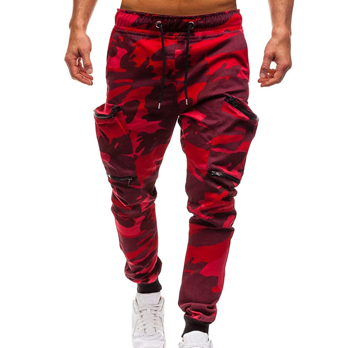 Mens Camo Jogging Pants,Drawstring Classic Zipper Pockets Sport Sweat Pants