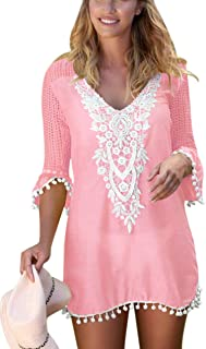 b76db63614 Beautyplay Womens Beach Blouse Cover Up Dress V Neck Print Swimsuit  Beachwear Bikini Stylish Swimwear