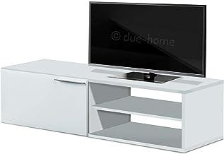 Habitdesign 006670BO - Modulo de Comedor, Mueble TV modelo Kikua, modulo acabado en Blanco Brillo, medidas: 130 cm (ancho) x 35 cm (alto) x 42 cm (fondo)