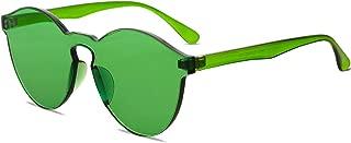 One Piece Rimless Sunglasses Colorful Transparent Round Oversized Retro Glasses
