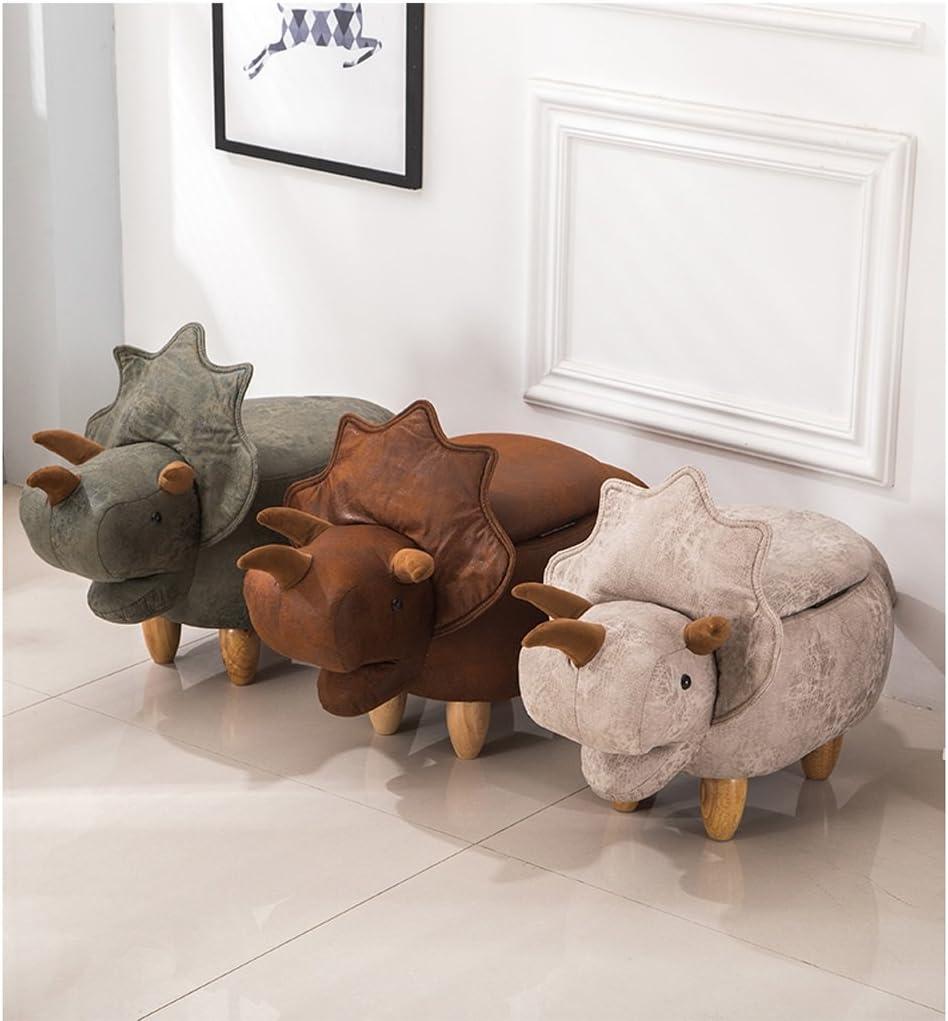 SLL- Dessin animé créatif dinosaure pied tabouret chaussures en bois massif banc tabouret canapé tabouret Fauteuils et Chaises (Color : D) D