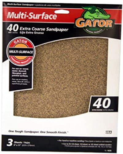 "discount ALI wholesale INDUSTRIES Gator Finishing 4439 40 Grit Aluminum Oxide Sanding Sheets (3 Pack), 9"" x 11"", Set new arrival of 2 outlet online sale"