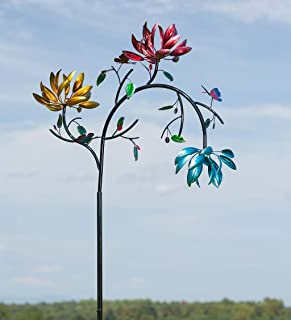 Large Wind Spinner with Three Spinning Flowers, 41 L x 12.25 W x 91 H