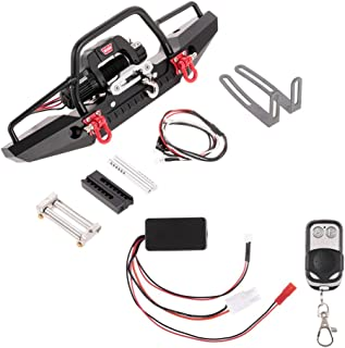 Goolsky Metal Front Bumper with 2 LED Light & Remote Control Electric Winch for Traxxas TRX-4 SCX10II 90046