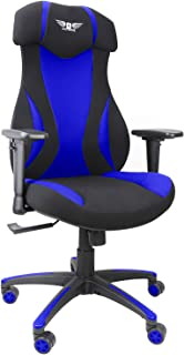 游戏办公椅,网布赛车椅,符合人体工程学电脑桌椅,带升降头枕和扶手 蓝色