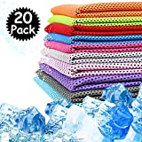 Peicees 20 Pack Microfiber Neck Cooling Towels Sports Sweat Towels Sweat Headband for Travel Beach Swimming Camping Climbing Gym Yoga Workout Backpacking, Quick Dry Super Absorbent Compact Lightweight