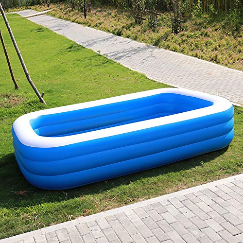 Lianaa Rectangular Inflatable Family Pool Thickened Insulation Folding Adult Inflatable Tub Garden Outdoor Swimming Playing Paddling Pools - A