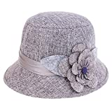MonkeyJack Womens Fashion Style Cloche Bucket Hat with Flower Accent Fedoras Hat - Gray