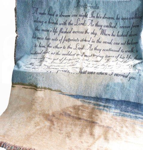 Manual llamativo colección 50x 152,4cm manta tapiz con poema, huellas en la arena por Manual woodworker
