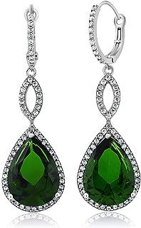925 Sterling Silver Dangle Earrings 2 Inch 16X12MM Pear Shape 2inches