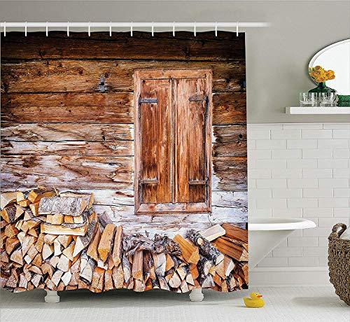 Yeuss Shutters Decor Collection,Altes Fenster auf einem Bauernhof mit Haufen Brennholz Ferienvilla Ländliches,ruhiges Szenenbild,Duschvorhang aus Polyestergewebe,Braun-Beige