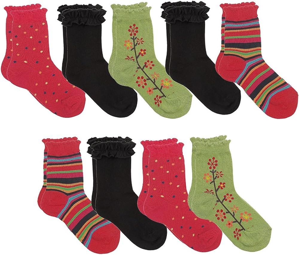 Flower Polka Dots Stripes Socks Ruffle Top, Pack of 9