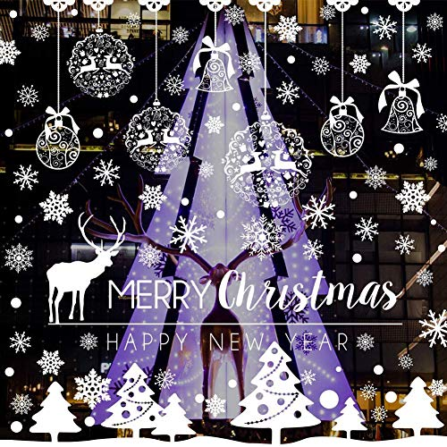 CHEPL Vetrofanie Natalizie Natale Vetrofanie Fai da Te Decorazione Vetrofanie Fiocchi Vetrina Sticker Fiocco di Neve Albero di Buon Natale per casa Negozi (8 Fogli)