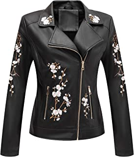 Bellivera Women's Faux Leather Casual Short Jacket,Moto Floral Coat with 2 Pocket