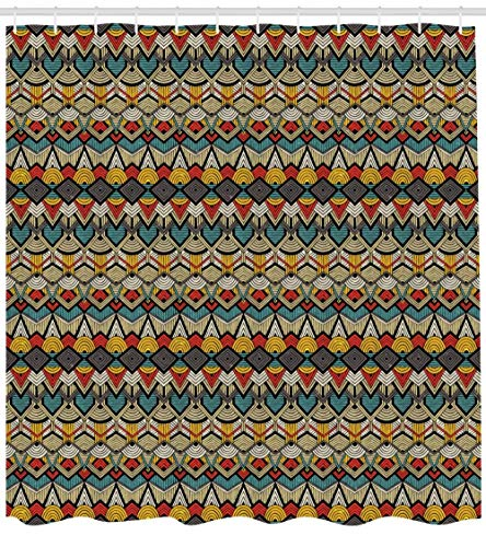 Brandless Komplexes Muster des Afrikanischen Duschvorhangs Der Dreiecke Halbkreise Und Der Zickzacklinien Mit Retro-Polyester-Stoffbad Im Grunge-Look-B180xH180cm
