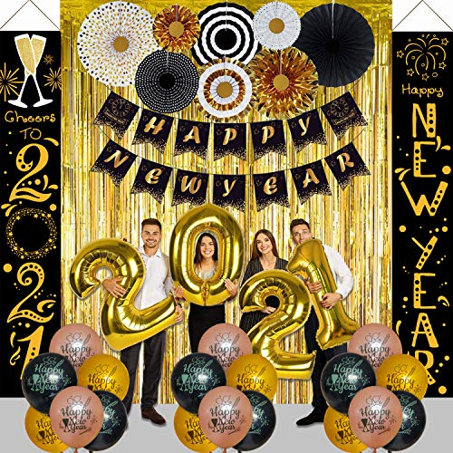 NAIWOXI Happy New Year Decorations 2021 Kit - Happy New Year Party Supplies, Including Happy New Year Porch Sign, Black and Gold Paper Fans, 2021 Foil Balloons, Happy New Year Banner, Foil Curtain, Balloons