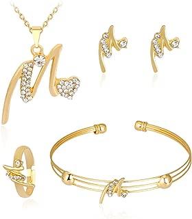 Women Personality Rhinestone Necklace Bracelet Ring Earrings Jewelry Sets 4 Pcs