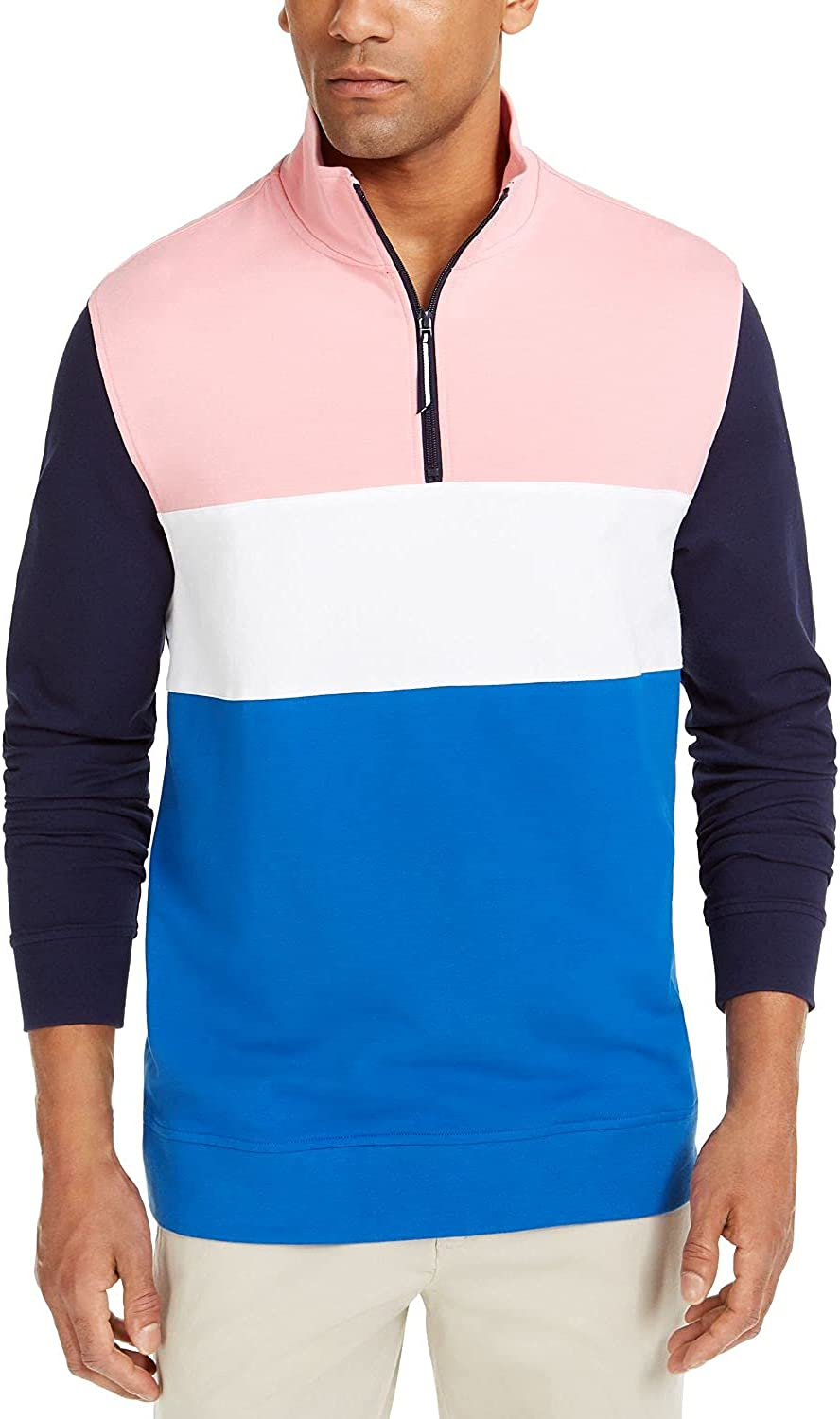 Club Room Mens Sweater Large Colorblock Pullover 1/4 Zip Blue L