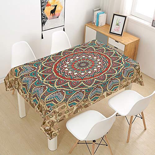 Fansu Manteles de Mesa Rectangular para Decorar, Impermeable Antimanchas Comedor Cuadrada de Mandala Impresión Manteles para Cocina/Cena/Picnic Decoración (Elegante,140x240cm)