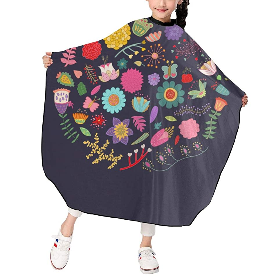 Hsanfwnzl Kids Haircut Barber Cape Color Flowers with Butterflies Vintage Apron Hairdressing Gown Cape Hair Salon Haircut Styling Smock Cover Cloth