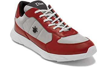 Dior Homme Men's Leather/Canvas Bee Runner Shoes Red