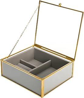 صندوق مجوهرات من الزجاج الشفاف مع صينية مخملية من هومتن، منظم مجوهرات سفر للنساء، صندوق مجوهرات صغير للتخزين حلق حلقة قلادة