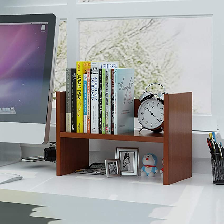 参照する反対する差し引くデスクトップストレージオーガナイザー、デスクディスプレイシェルフラック、オフィス&ホーム用多目的本棚、拡張可能なデスクトップスタンド本棚、オフィスストレージラック、フリースタイルディスプレイナチュラルスタンドシェルフ