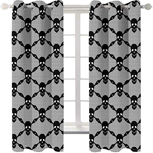 """Blackout Curtain Black Skull 3D Printed Microfiber Thermal Insulated Noise Reduction Eyelet Curtains for Kids Bedroom Decoration 42""""x 63"""",2 Panels"""