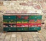 massive, indonesische Kommode/Sideboard/Anrichte mit Schubladen, aus recyceltem Teakholz von Hand gefertigt