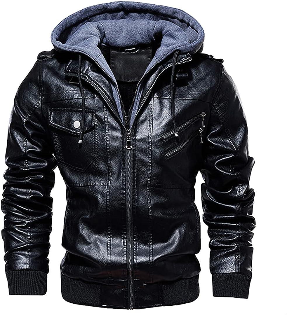 PU Leather Men Autumn Winter Casual Hat Detachable Coats Windproof Moto Biker Faux Leather Jackets