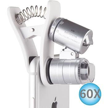 スマホ用マイクロスコープ LEDライト/UVライト搭載 スマホクリップ式顕微鏡 倍率60倍 拡大鏡 iPhone6/6s/7 各種スマートフォン対応