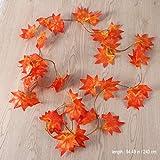 WINOMO 2 Stücke Herbstgirlande mit Ahorn Blättern Tischdeko künstlich Fensterdeko 2.4M - 3