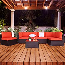 EXCITED WORK 7Pcs Outdoor Patio Wicker Sofa, Garden Sectional Rattan Furniture Set with Coffee Table,Washable Couch Cushions and 2 Pillows
