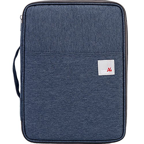 TINTON LIFE Multi-Functional Waterproof Travel A4 Document Zippered Bags Organizer for Ipads/Notebooks/Pens/Documents(Dark Blue)