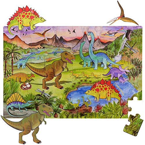 World Map Big Floor Puzzle with Thick Jigsaw Puzzle Pieces which can Also be Used on a Table are Great Floor Puzzles for Kids Ages 4-8 Years and Older (Dinosaur Puzzle)